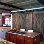 kitchen remodel with wooden barn doors