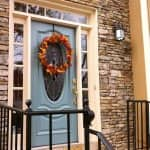 house exterior with blue door