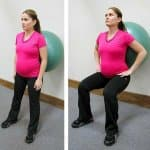 pregnancy exercises - squat with exercise ball