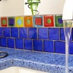 recycled glass countertop in kitchen