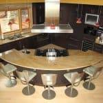 curved kitchen island in kitchen remodel