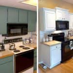 before and after photos of a kitchen remodel