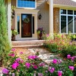 front-yard landscape with colorful flowers