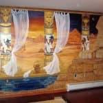 Egyptian theme mural in master bedroom