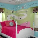 Paris-themed mural in girl's bedroom