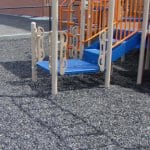 outdoor playground with rubber tire mulch