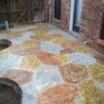 multicolored stamped concrete patio