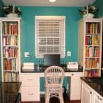 kitchen with turquoise walls