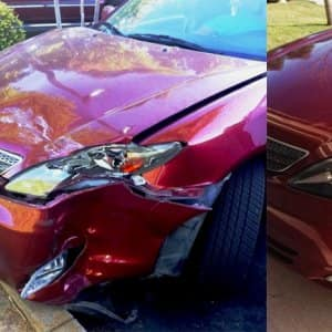 This car's owner went to five body shops before joining Angie's List and finding a shop that worked with her to repair the damage. (Photo courtesy of Angie's List member Monique G. of Sacramento, Calif.)