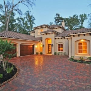 stucco house, window, Mediterrean home, brick driveway