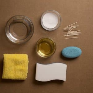 vinegar, baking soda, toothpicks, water and sponges