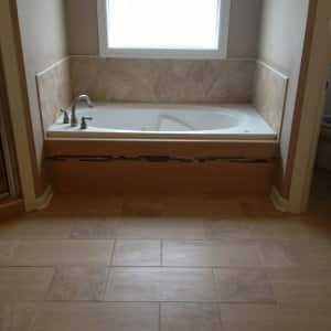 Tile flooring in a bathroom