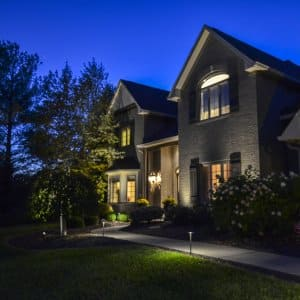 Outdoor Lighting In Front Of Indiana Home And Pathway