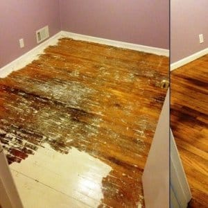 When this member ripped up carpet, this is what the floor looked like. After trying to strip it herself, she called in a pro to install the floor. (Photo courtesy of Angie's List member Tobi V. of Berkley, Mich.)
