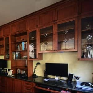 Marks says his neighbors are oohing and aahing over True Grain Woodworks' custom cabinets in his home office. (Photo courtesy of Scott Marks)
