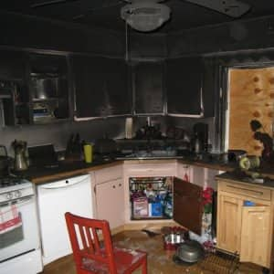 burned out kitchen