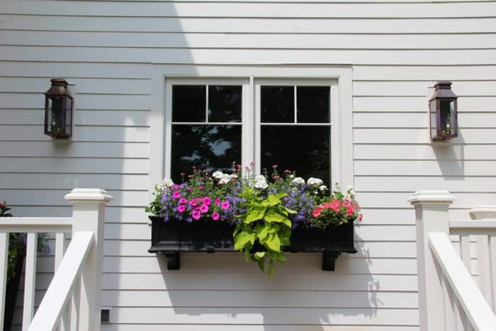 planter box with flowers outside kitchen window