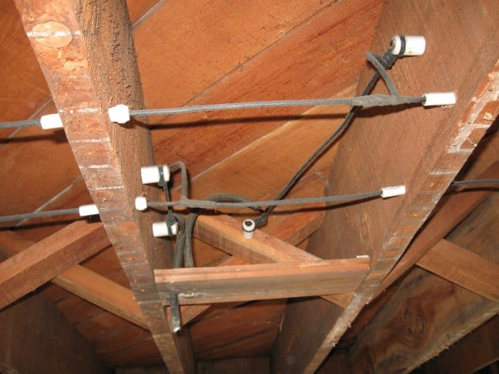 Old Knob And Tube Electrical Wiring Between Attic Rafters: 1950s Home Wiring At Outingpk.com