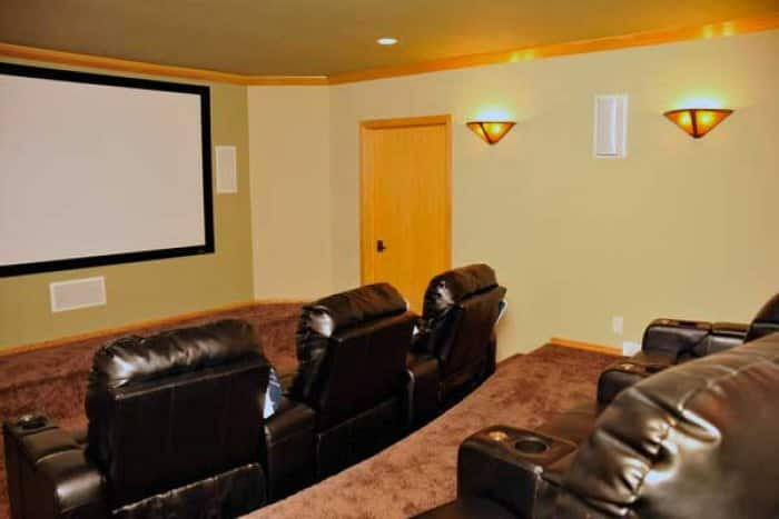 basement remodel with home theater