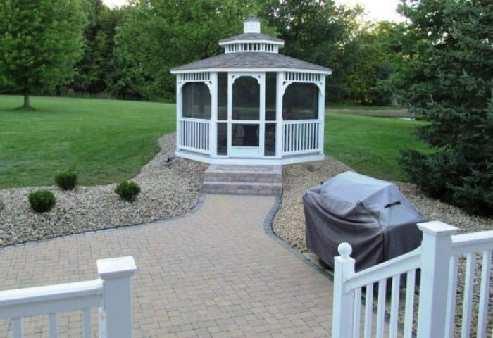Rather than isolating your gazebo in the middle of your yard, consider connecting it to your deck with a patio. (Photo courtesy of Angie's List member Patrick W. of Medina, Ohio)
