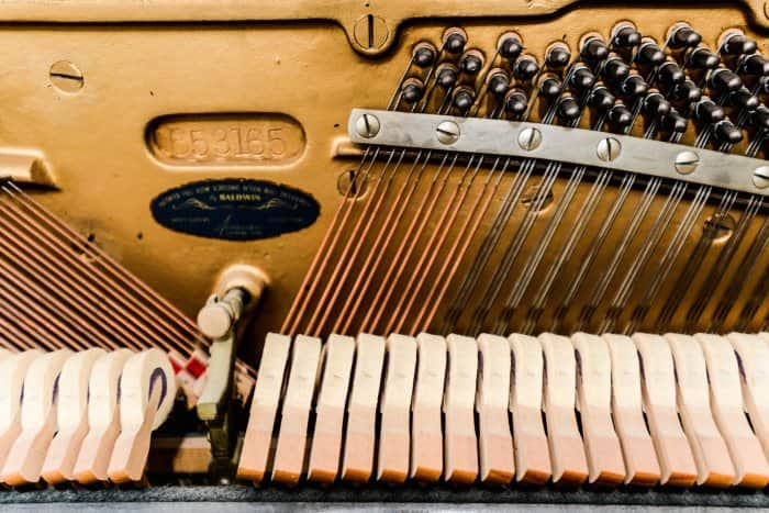 piano hammers, bridge and strings