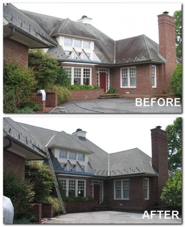 Cleaning a roof with a low-pressure chemical treatment can remove black streaks and discoloration. (Photo courtesy of Blue Ridge Roof Cleaning of Virginia)