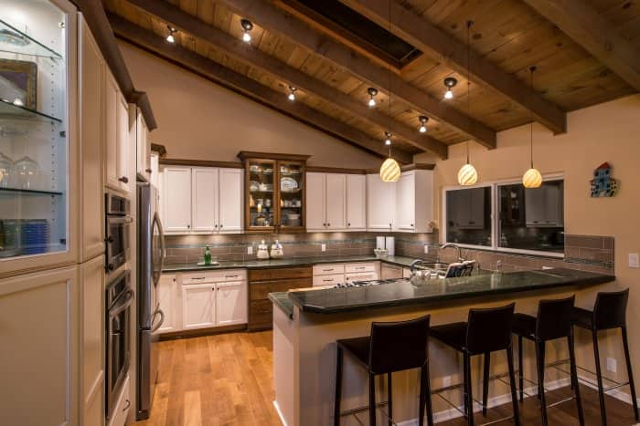 Pendant lights in remodeled kitchen