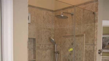 Angie's List member Jim Jensen upgraded his bathroom by installing a frameless, glass shower door. (Photo courtesy of Jim Jensen)