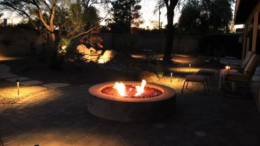 A fire pit can add warmth and interest to a backyard patio. (Photo courtesy of member Karin L. of Tucson, Arizona)
