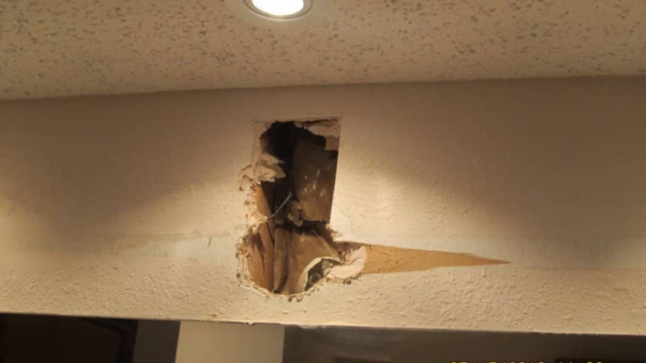 Hole in upper interior wall. (Photo by Photo courtesy of Jimmy Pitts  )
