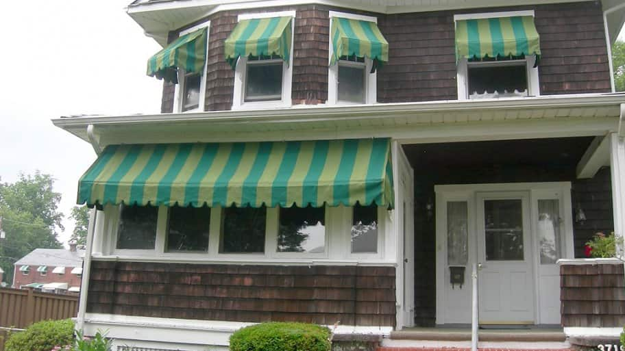 a house with several awnings