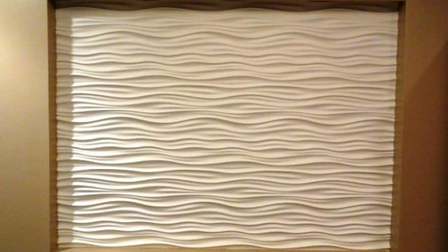 This wave feature wall complemented a deluxe bathroom spa remodel. (Photo courtesy of Angie's List member Meaghan W. of Palatine, Ill.)