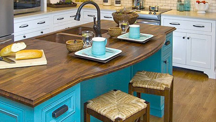 kitchen with blue accents