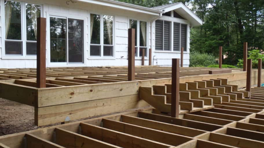 if your decks frame isnt securely attached to your house with heavy duty bolts you could risk a collapse when the deck pulls away from the house photo