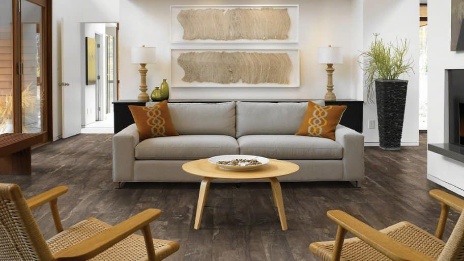 Gray Flooring Couch Gold Accents