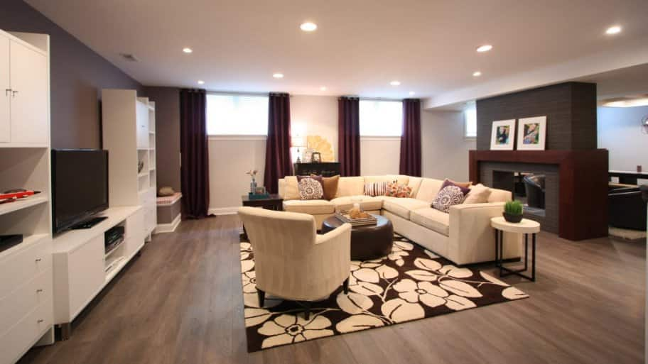Living Room, Finished Basement, White Couch