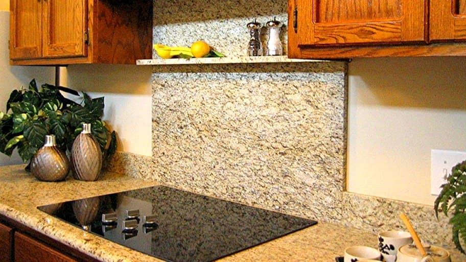 granite countertop and backsplash in kitchen