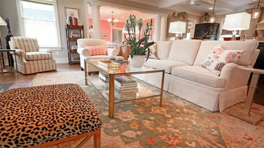 living room, home staging, formal living room, cheetah ottoman