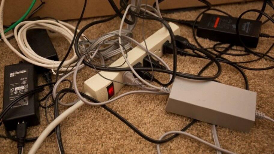tangled electronic cords (Photo by Eldon Lindsay)