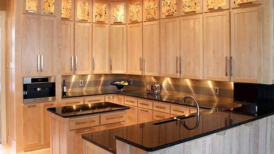kitchen cabinets refaced and added in tiger maple