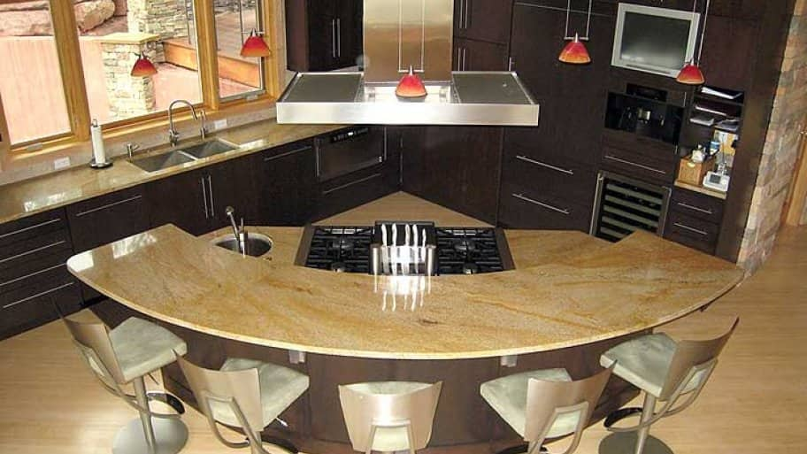 Curved Kitchen Island In Kitchen Remodel
