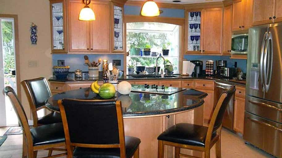 circular kitchen island with stove