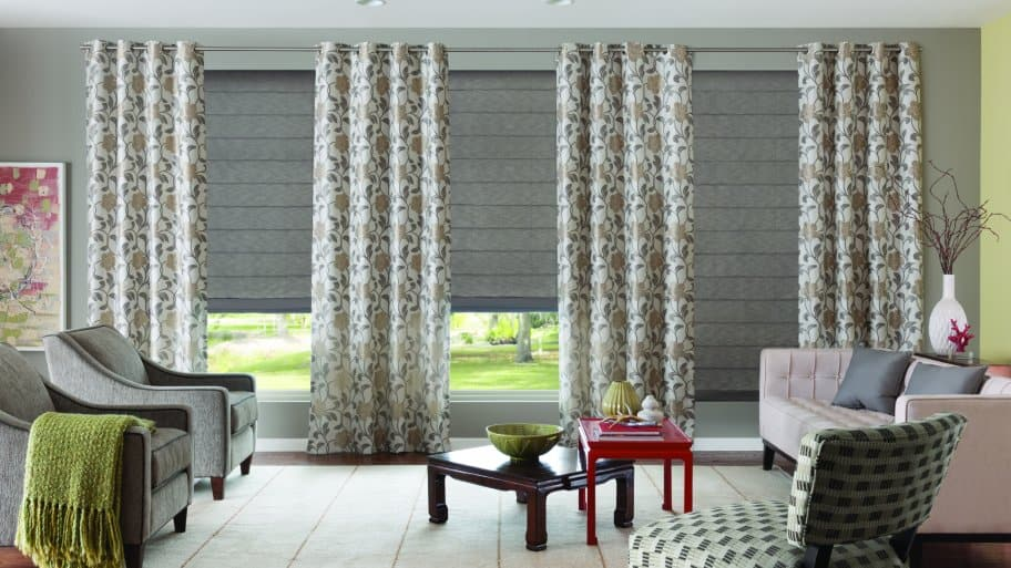motorized shades on tall window - Window Treatment Ideas