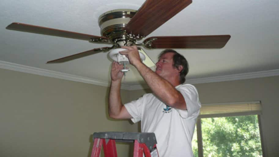 Homeowners with a lot of DIY experience may be able to install a ceiling fan where there is already an existing fixture. (Photo courtesy of Angie's List member Doan T.)