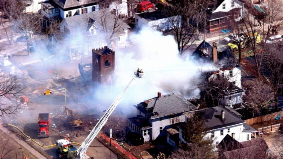 The First Baptist Church of Oconomowoc, Wisc., exploded due to a natural gas leak on April 2, 2008. (Photo courtesy of the City of Oconomowoc, Wisc.)