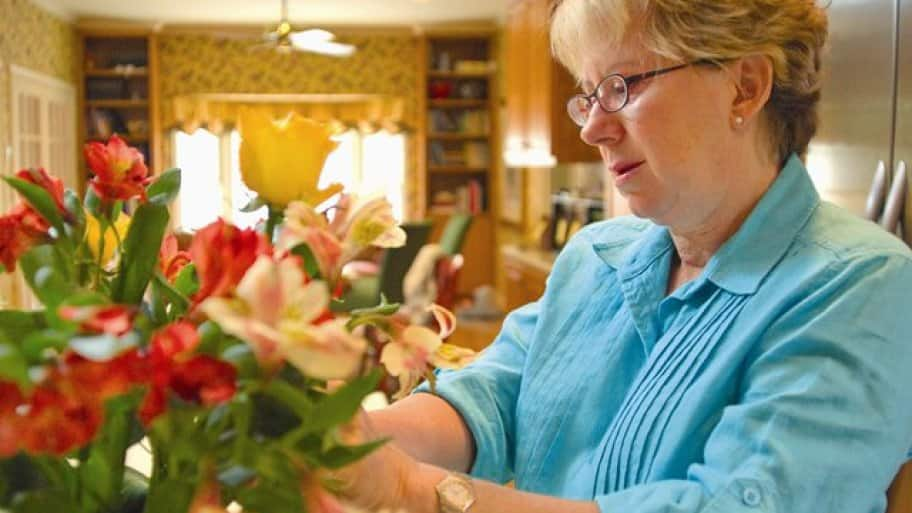 Angie's List member Cindy Sullivan is pleased with the flowers she has purchased at highly rated Prive Floral in Austin, Texas. (Photo by Matt Cowan)