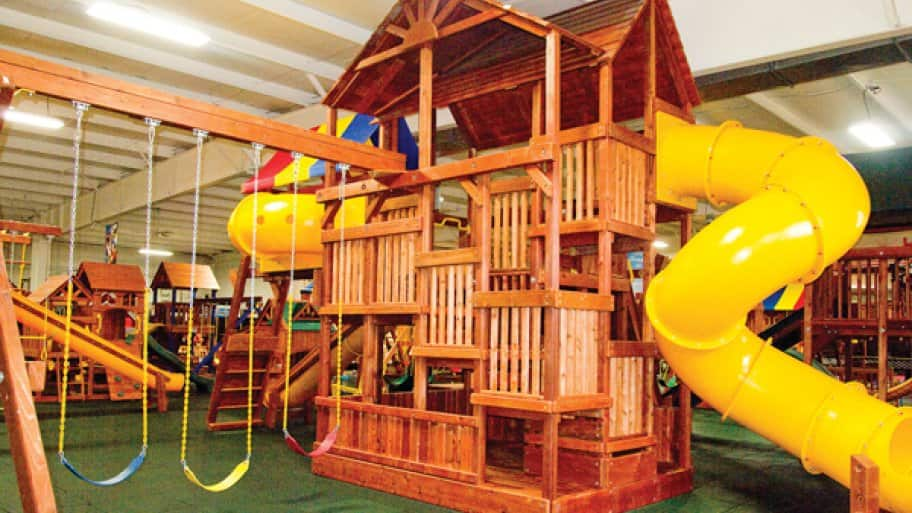 Some sets allow parents to choose which components to include, such as slides, swings or climbing walls. (Photo by Meranda Watling)