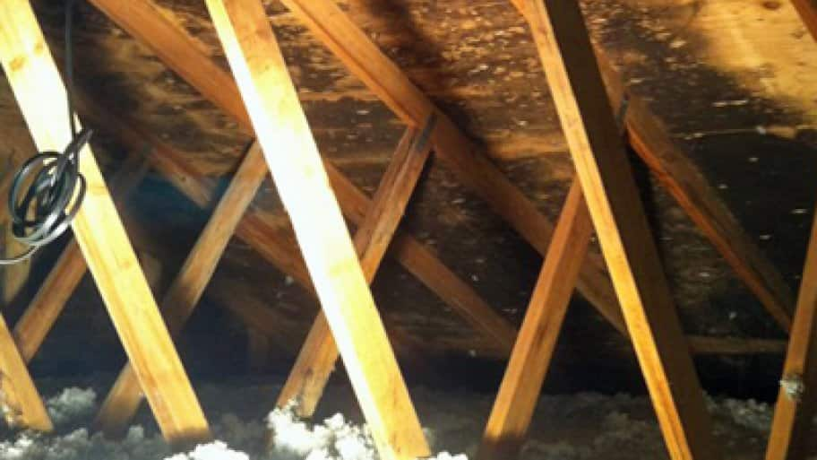 When trying to locate a leak source, first check the underside of your roof decking for signs of water intrusion. (Photo courtesy of Angie's List member Patricia C. of Vermilion, Ohio)