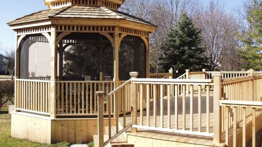 Using the same materials and design for your gazebo as your deck can give a nice, unified look. (Photo courtesy of Angie's List member Robert C. of Barrington, Ill.)
