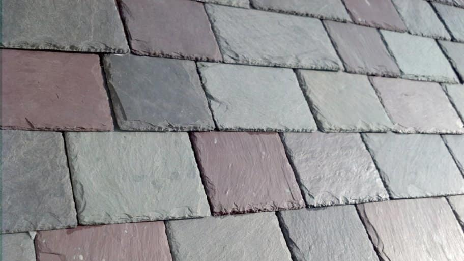 slate tile roofing material in grey and red tones